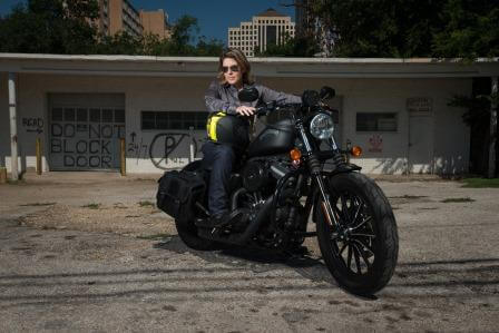 Attorney Shefman on her Iron 883 Motorcycle