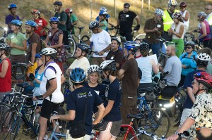 Cyclists prepare to ride